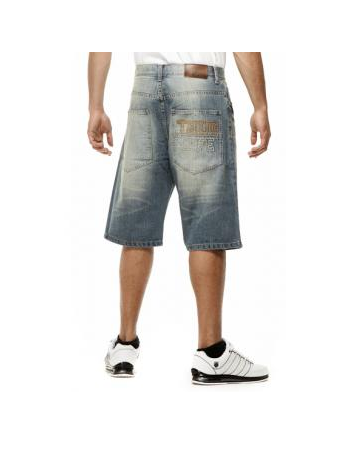 Thug Life Old English Denim Shorts MedBlue