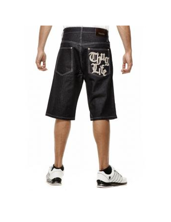 Thug Life Denim Shorts Raw Denim Blue