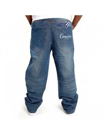 Cocaine Life Flaggy Logo Denim Jeans Medium Blue