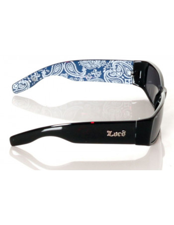 Locs Sunglasses Black paisley blue