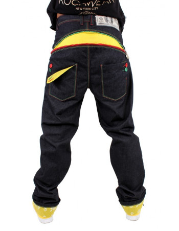 Dirty Money Baggy Zip Arc Rasta Jeans