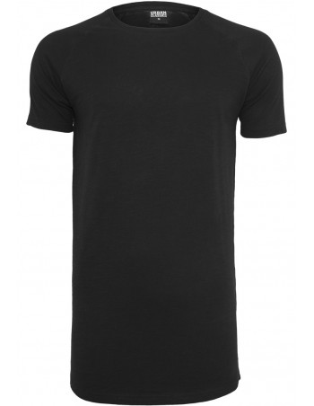 Long Shaped Slub Raglan Tee Black