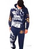 BSAT Big Skull ZipHoodie Blue