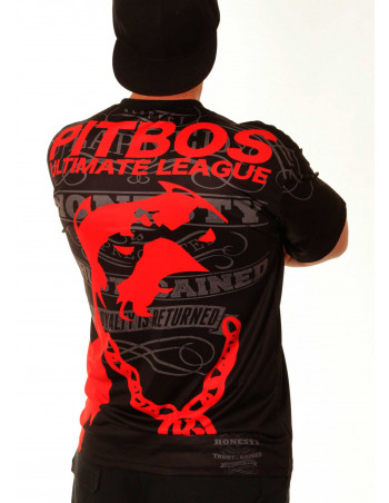 Pitbos Ultimate League Tee/ Black Red