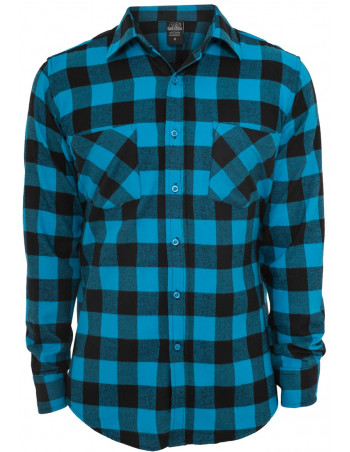 Checked Flanell Shirt Black Turquis
