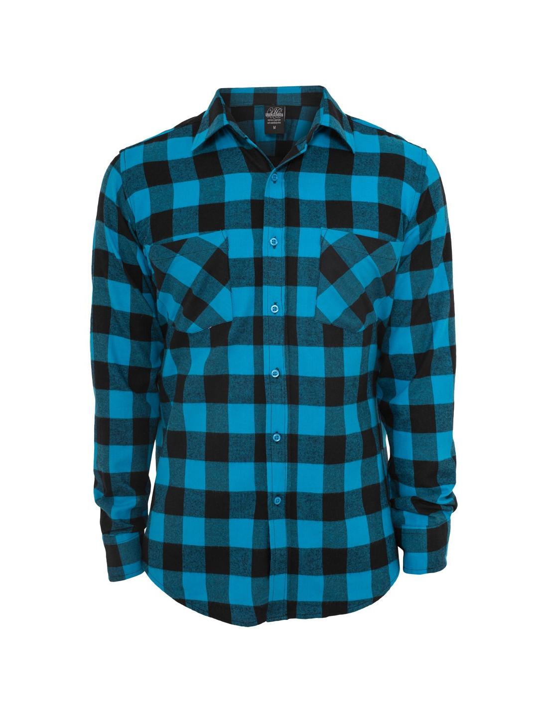 Checked Flanell Shirt Black Turquis