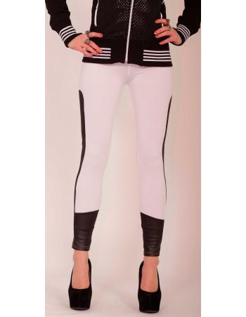 White Leggings/Black faux leather insert