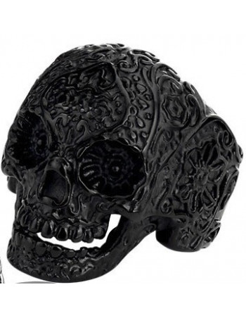 Flower Skull Ring Black