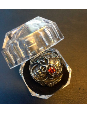 Captain Skull Ring Red Stone