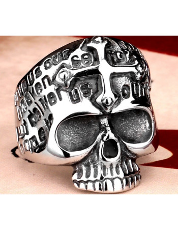 Cross Demon Skull Ring