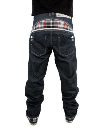 Zip Arc White Check Raw Denim Jeans