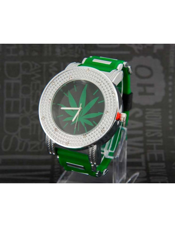 Rubber Band Watch Silver Green
