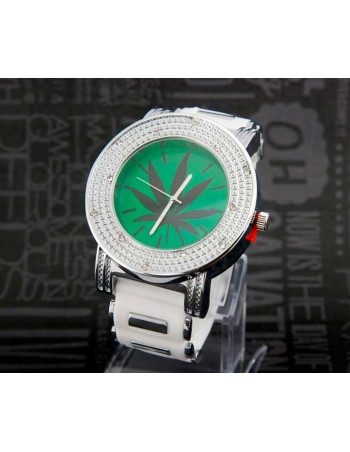 Rubber Band Watch Silver White