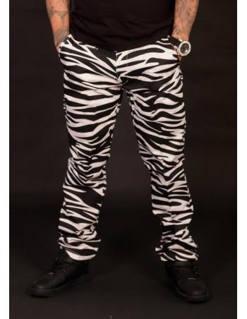 Animal Chino Pants Zebra White