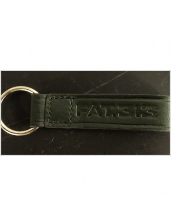 FAT313 Leather Keychain Embossed Logo Green