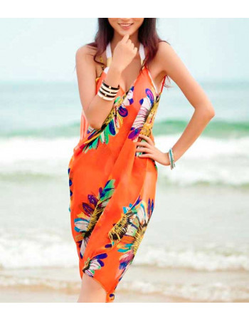 Orange Beach Cover with Flowers