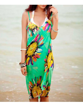 Green Beach Cover with Flowers