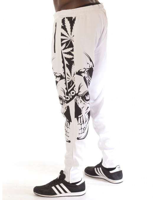 BSAT Panther Track Pants Smokin Skull White