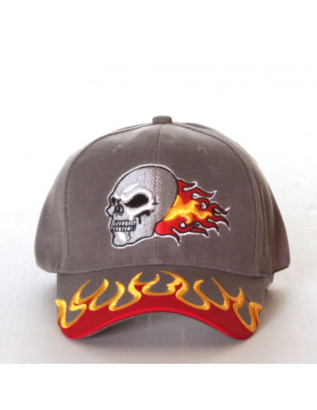 Baseball cap, Flamin Skull Grey
