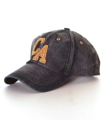 Washed CA Denim Baseball Cap/Black