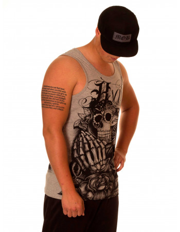 BSAT Praying Skull Tanktop LightGreyNBlack