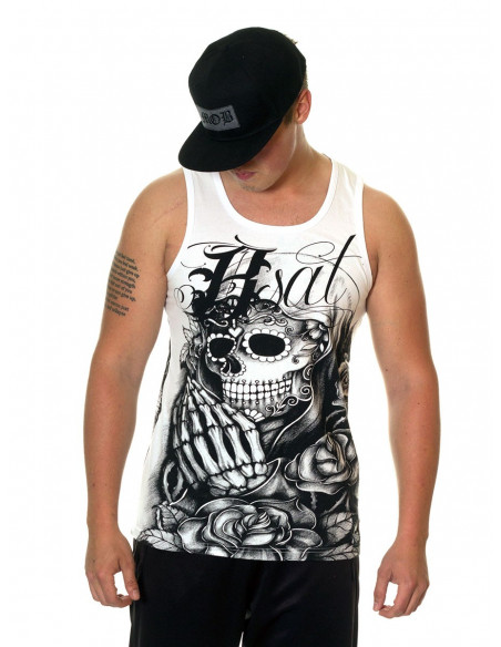 BSAT Praying Skull Tanktop WhiteNBlack