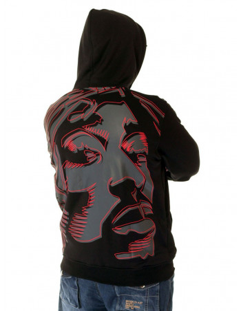 BSAT Tupac Art Hoodie Black/Grey/Red