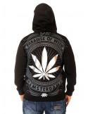 BSAT Silver Weed ZipHoodie Black//Silver/Grey