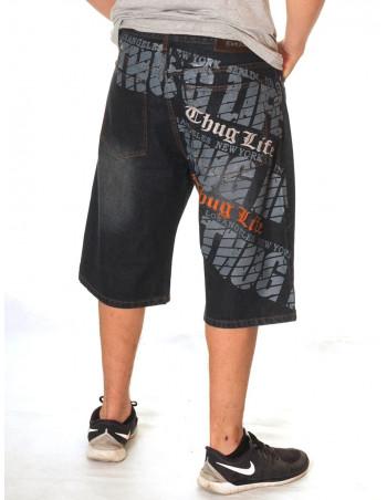 Thug Life Denim Shorts Script logo Dark Blue