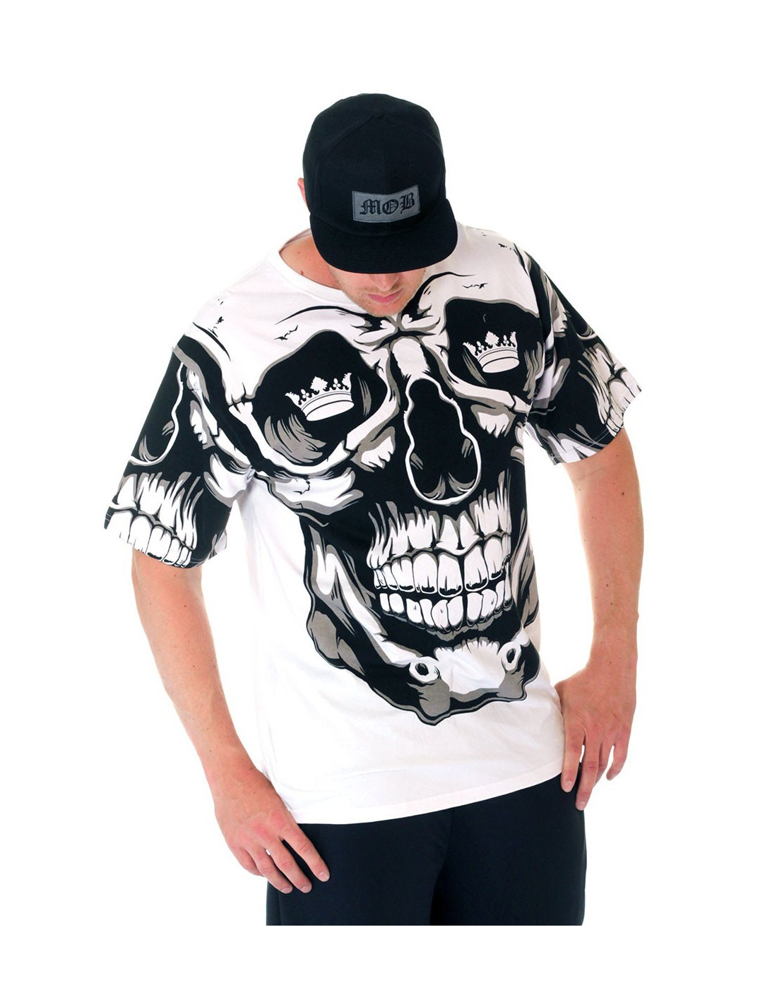 BSAT Crown Skull Tee White/Black/Grey