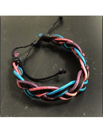 Leather Bracelet/Braided Black. Pink, Turquis