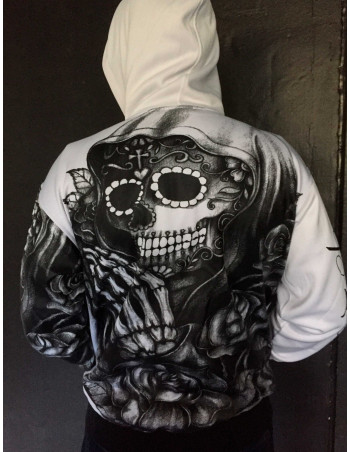 BSAT Praying Skull ZipHoodie WhiteNBlack