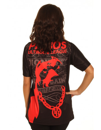 Pitbos Ultimate League female oversize T-Shirt BlackNRed