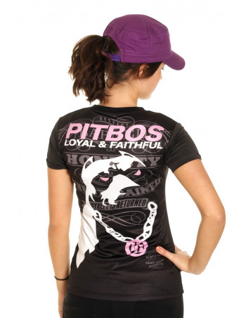 Pitbos Loyal & Faithful LadyTee BlackWhiteNPink