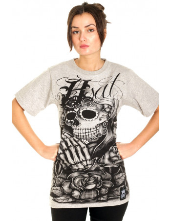 BSAT Praying Skull female T-Shirt Grey