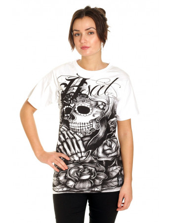 BSAT Praying Skull female T-Shirt White