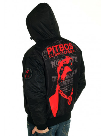 Pitbos Dog Winter Jacket BlackNRed