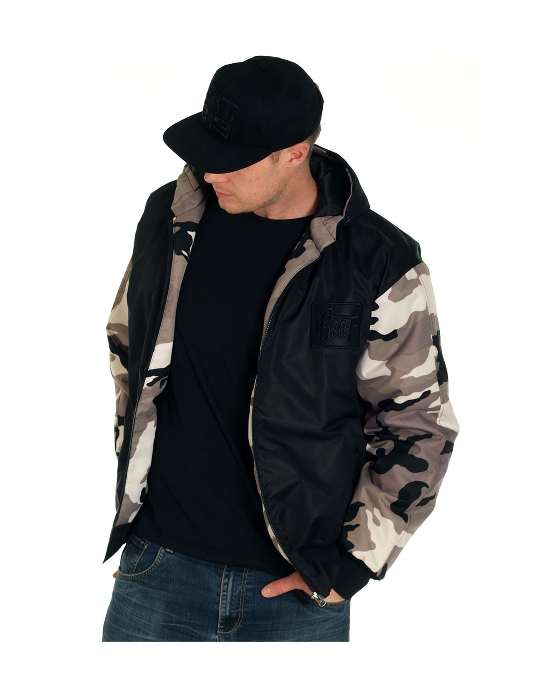 BSAT Bronx Winter Jacket BlackNCamo