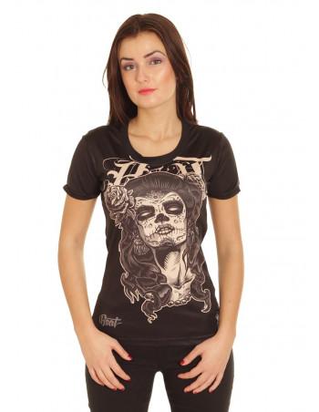 BSAT Skull Chica Tee BlackNBrown