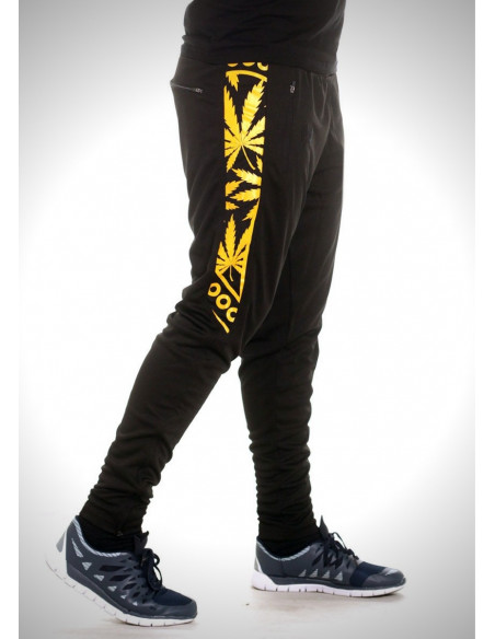 BSAT Smokin Track Pants Black YellowGold