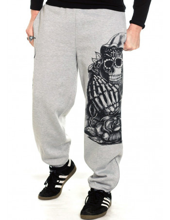 Praying Skull Sweatpants Grey by BSAT