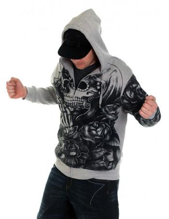 Praying Skull ZipHoodie Grey by BSAT