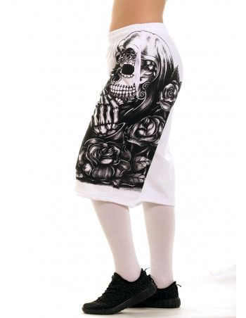 Praying Skull SweatShorts WhiteNBlack