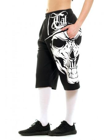 Cali Skull SweatShorts BlackNWhite