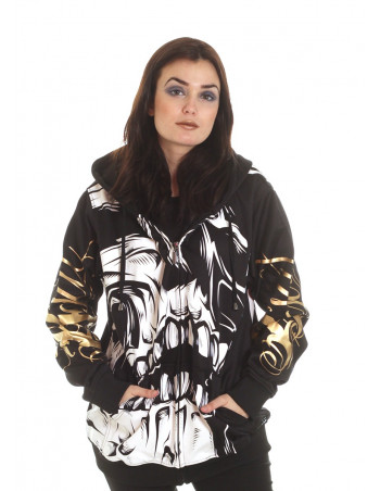 BSAT Big Skull Rebel ZipHoodie Black