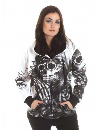 BSAT Babe Praying Skull ZipHoodie BlackNWhite