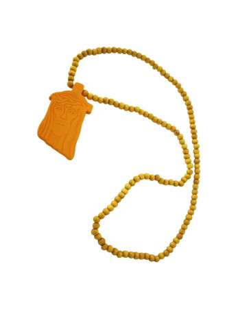 Wood necklace, Jesus Yellow