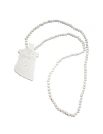 Wood necklace, Jesus White