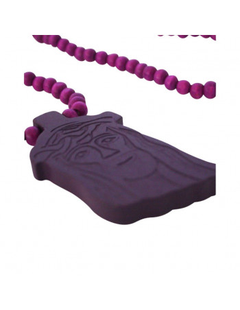 Wood necklace, Jesus Purple