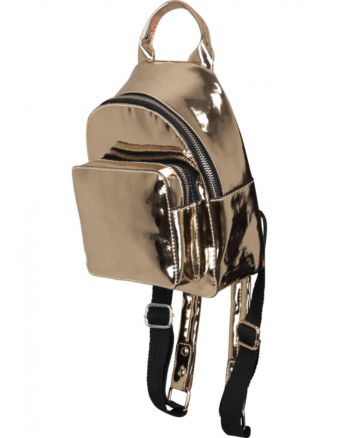 Mini Metallic Backpack Gold